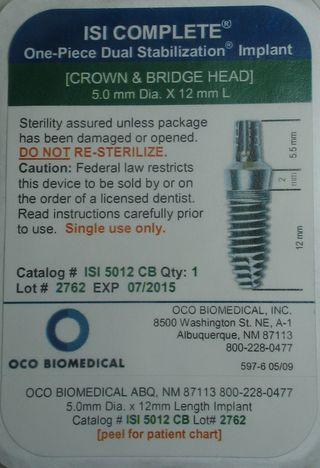 OCO ISI 5.0 x 12mm